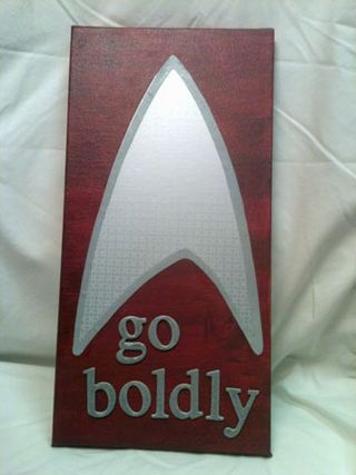 """Go Boldly"" decoupaged canvas"
