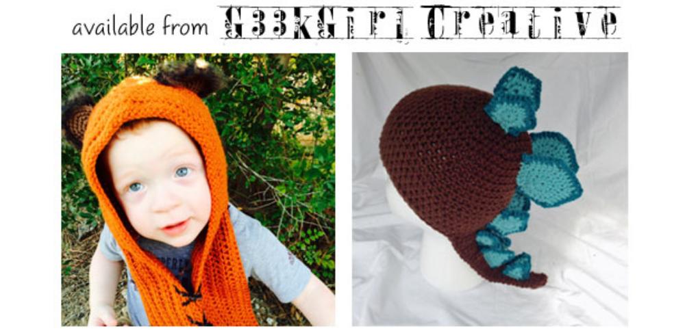 Crochet Ewok & Dinosaur hats