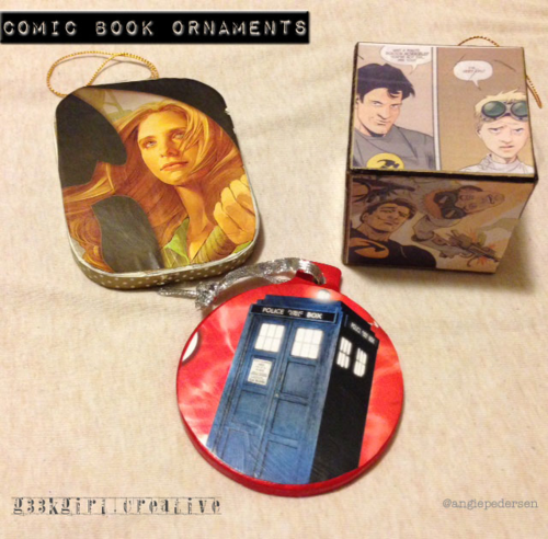 Comic book ornaments by Angie Pedersen