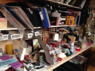 Cluttered craft desk